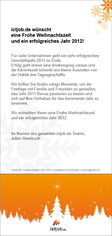 Weihnachtskarte von ictjob.de