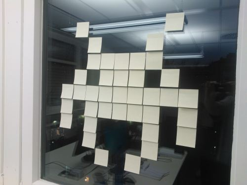 Space Invaders Post-it-Fensterbild